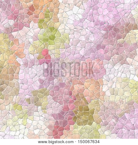light pastel colored abstract marble irregular plastic stony mosaic pattern texture background with gray grout - pink purple violet orange and green colors