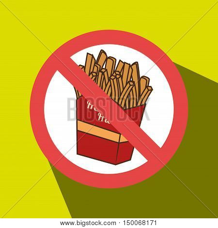 fries fast food unhealth prohibited vector illustration eps 10