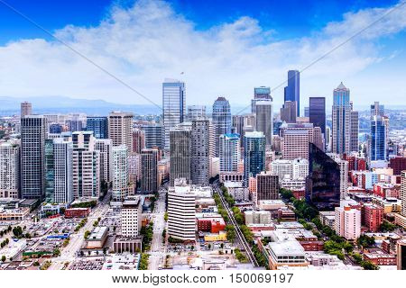 HDR rendering of downtown Seattle, Washington, skyline.