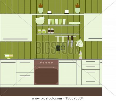 Kitchen with green wall and housewares and home accessories