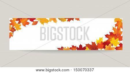 Fall leaf nature banner. Autumn leaves background. Season floral horizontal wallpaper