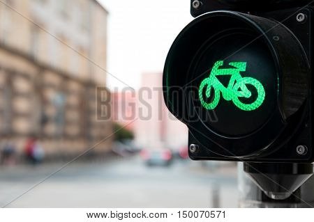 Traffic light with green light for bike