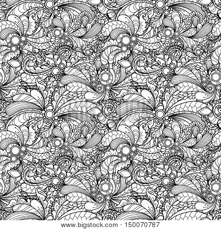 Seamless pattern in doodle style. Floral, nature, ornate, decorative, tribal, abstract vector pattern. Black and white monochrome background. Zentangle hand drawn coloring book page
