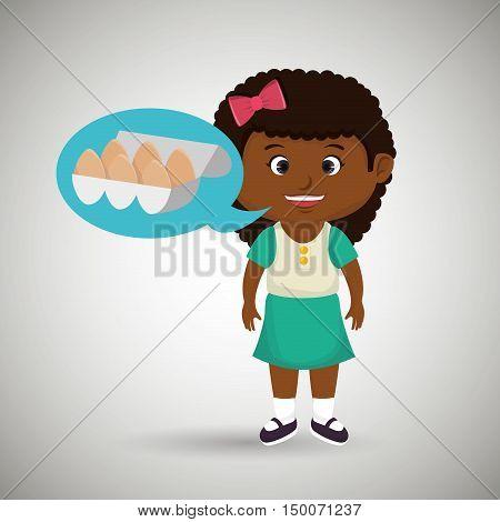 girl cartoon eggs health food vector illustration eps 10