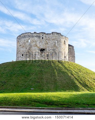 The keep (Clifford's Tower) at York Castle York UK