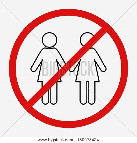 No women sign. Flat vector stock illustration