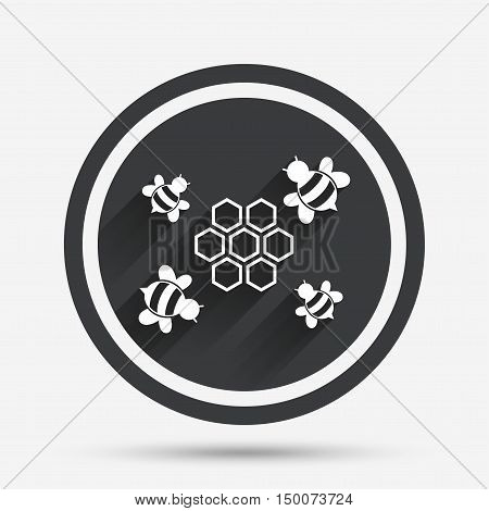 Honeycomb with bees sign icon. Honey cells symbol. Sweet natural food. Circle flat button with shadow and border. Vector
