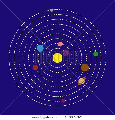 Solar System Flat Vector stock illustration. On blue background