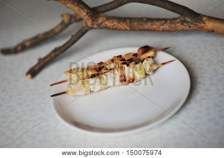 .Chicken skewers with pieces of vegetables on a white dish close up.