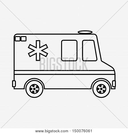 Vector illustration ambulance car on blue background. Ambulance auto paramedic emergency. Medical evacuation. Cartoon silhouette outline