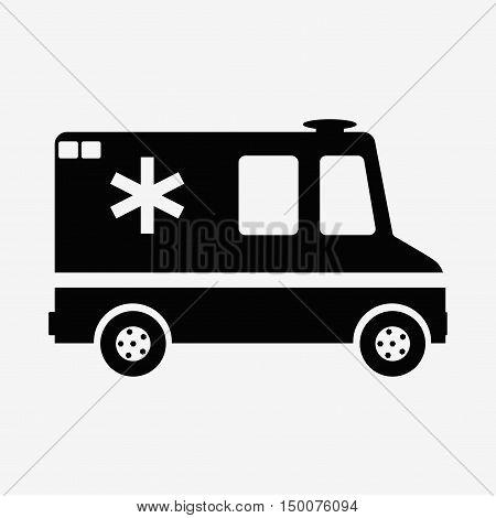 Vector illustration ambulance car on blue background. Ambulance auto paramedic emergency. Medical evacuation. Cartoon silhouette