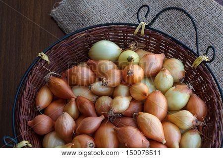 Small white organic onions in wicker basket