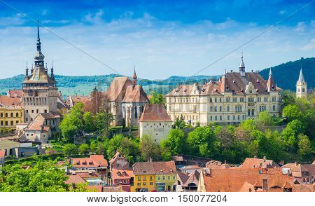 Panoramic view over the cityscape architecture in Sighisoara, medieval town of Romania, (called Dracula`s house)
