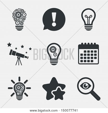 Light lamp icons. Lamp bulb with cogwheel gear symbols. Idea and success sign. Attention, investigate and stars icons. Telescope and calendar signs. Vector