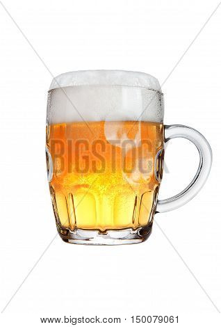 Retro glass of beer with foam isolated on white background
