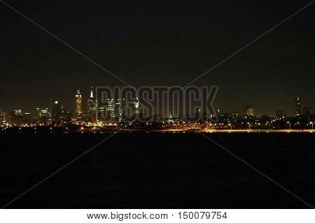 Melbourne by night, Dark, Nightlights, water, reflection