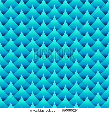 Geometric seamless wavy pattern. Blue gradient coloring. Three dimentional effect