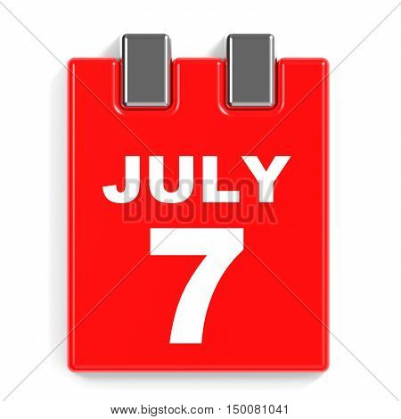 July 7. Calendar On White Background.