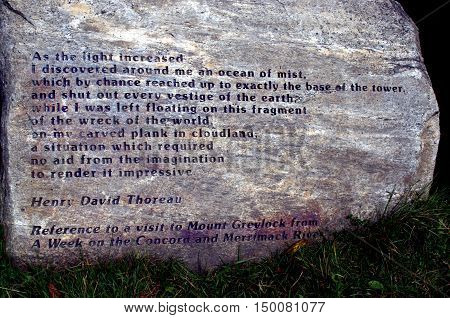 Henry David Thoreau visited Mt. Greylock according to this poem. poster