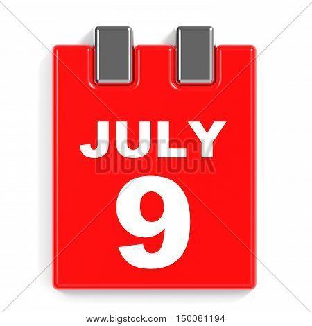 July 9. Calendar On White Background.