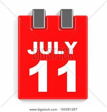 July 11. Calendar On White Background.