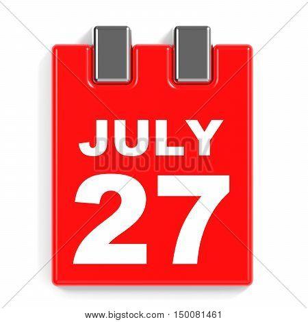 July 27. Calendar On White Background.
