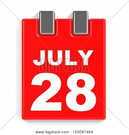 July 28. Calendar On White Background.