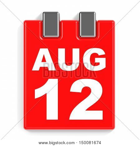 August 12. Calendar On White Background.