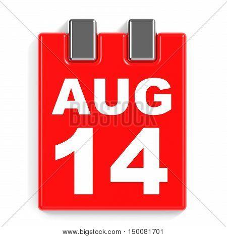 August 14. Calendar On White Background.