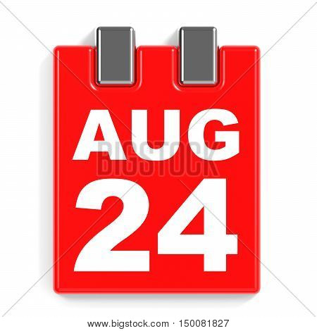 August 24. Calendar On White Background.