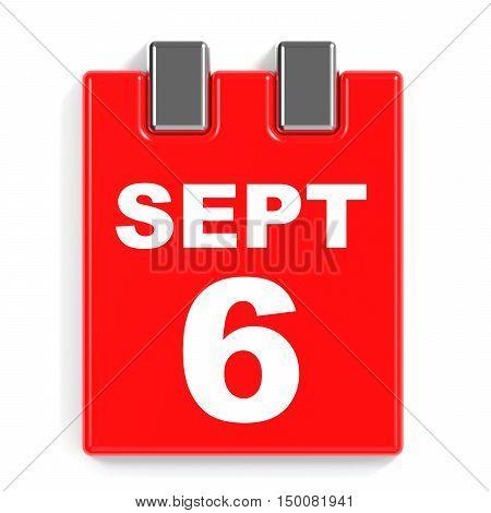 September 6. Calendar On White Background.