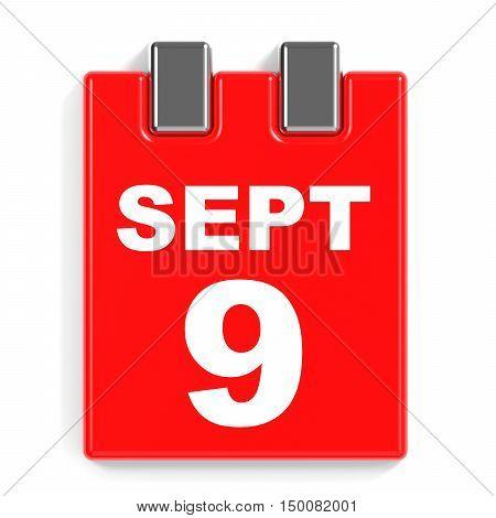 September 9. Calendar On White Background.