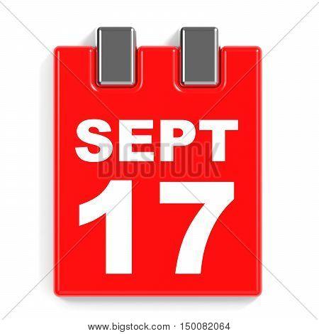 September 17. Calendar On White Background.