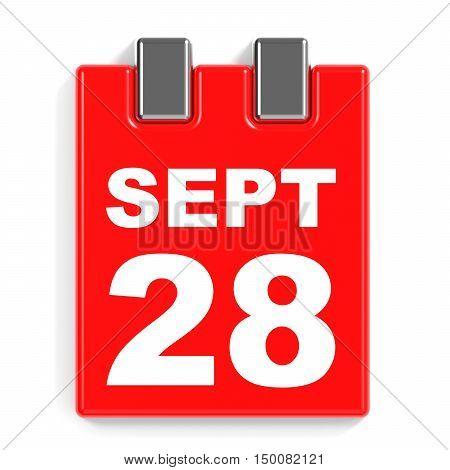 September 28. Calendar On White Background.