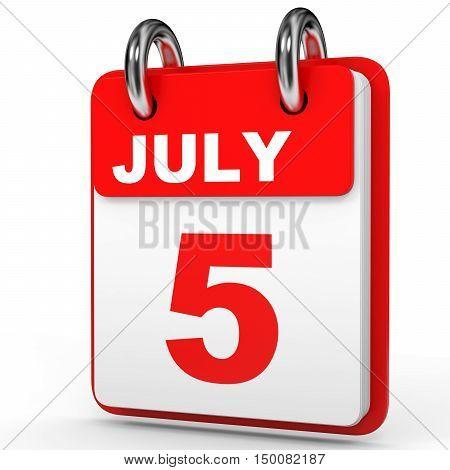 July 5. Calendar On White Background.