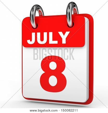 July 8. Calendar On White Background.