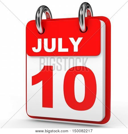 July 10. Calendar On White Background.