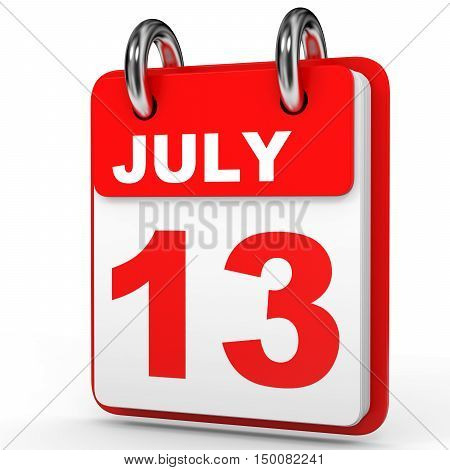 July 13. Calendar On White Background.