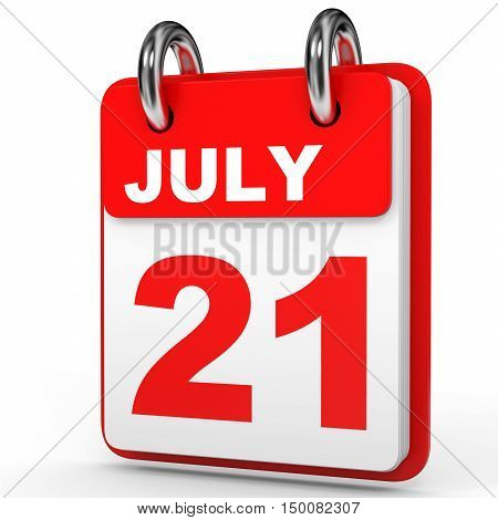July 21. Calendar On White Background.