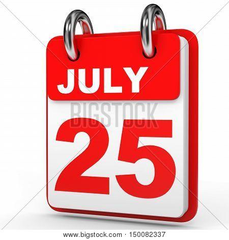 July 25. Calendar On White Background.