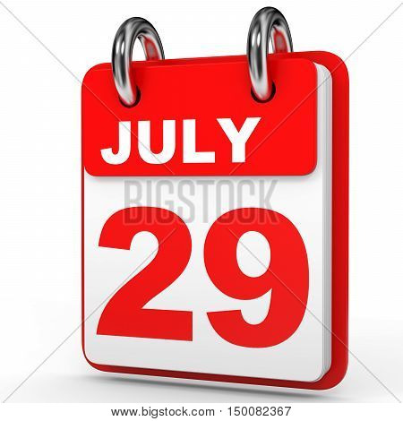 July 29. Calendar On White Background.