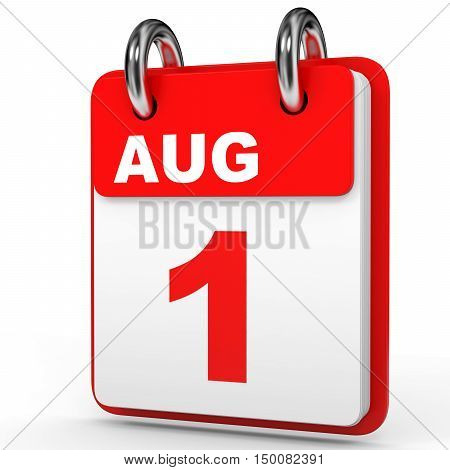 August 1. Calendar On White Background.