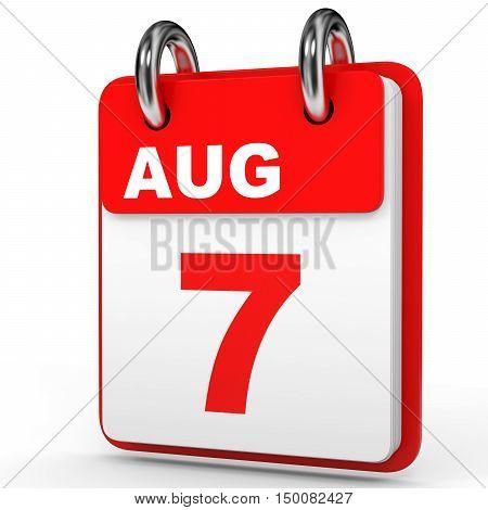 August 7. Calendar On White Background.