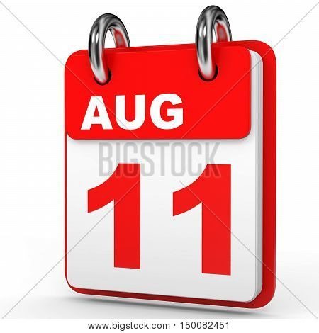 August 11. Calendar On White Background.