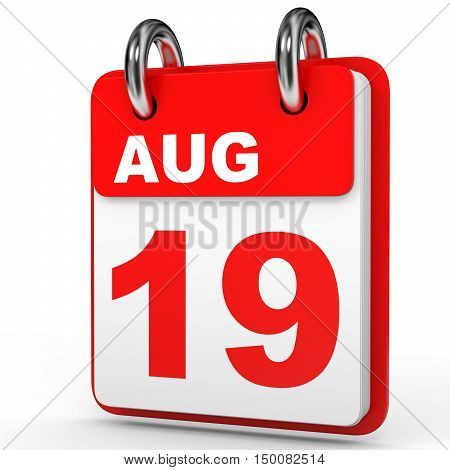 August 19. Calendar On White Background.
