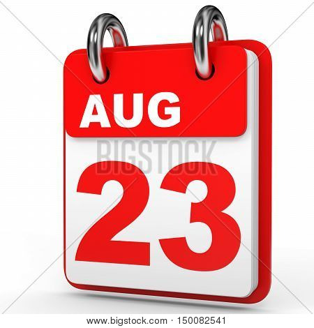 August 23. Calendar On White Background.