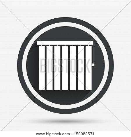 Louvers vertical sign icon. Window blinds or jalousie symbol. Circle flat button with shadow and border. Vector