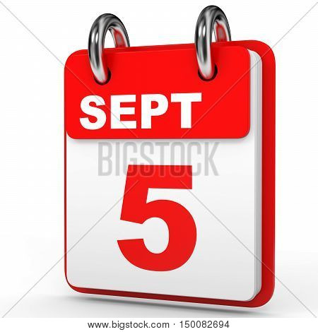 September 5. Calendar On White Background.