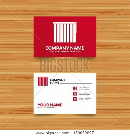 Business card template. Louvers vertical sign icon. Window blinds or jalousie symbol. Phone, globe and pointer icons. Visiting card design. Vector