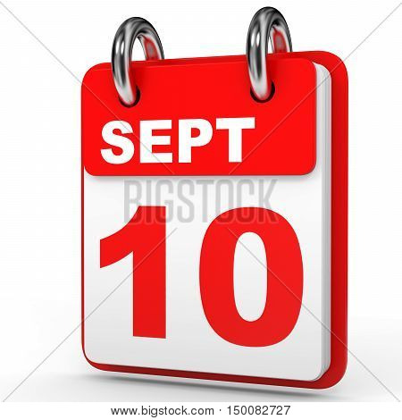September 10. Calendar On White Background.
